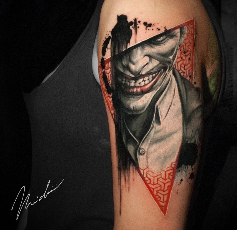 Great Joker Tattoo On Shoulder For Girl By Michaël Cloutier