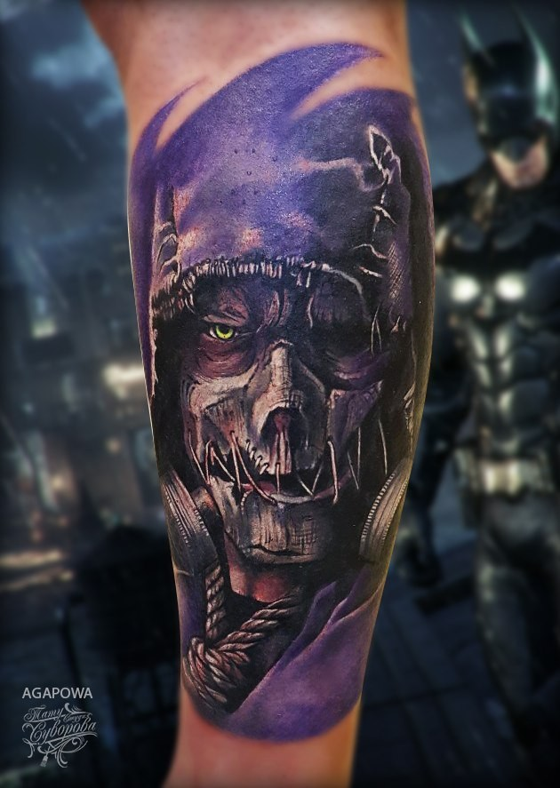 Great Marvels scarecrow tattoo on forearm