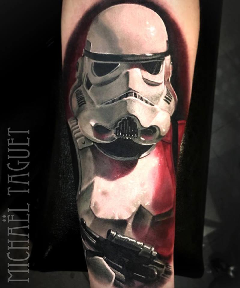 Great StormTrooper tattoo on arm