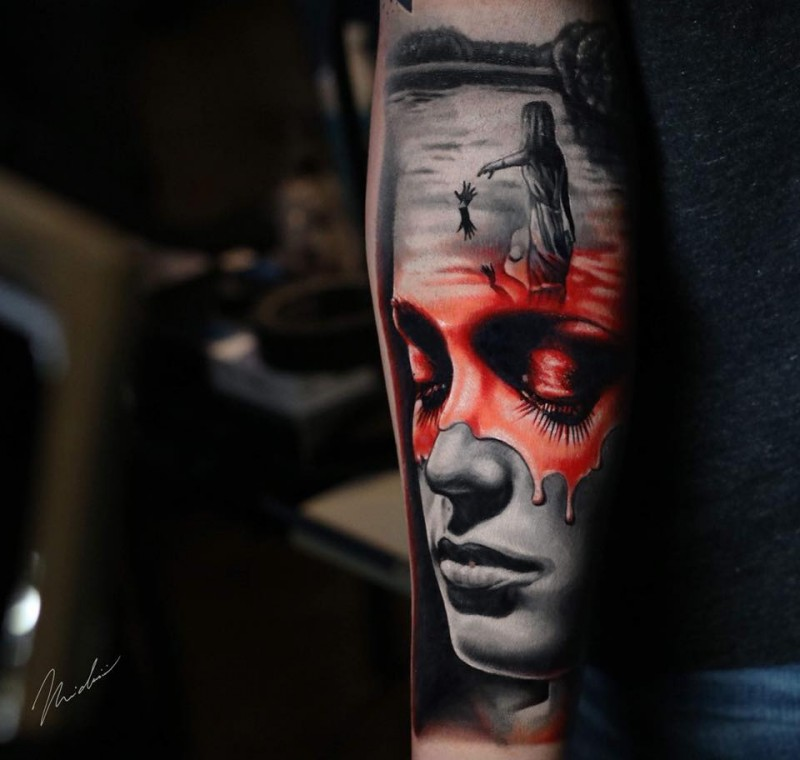 Great abstract woman face tattoo