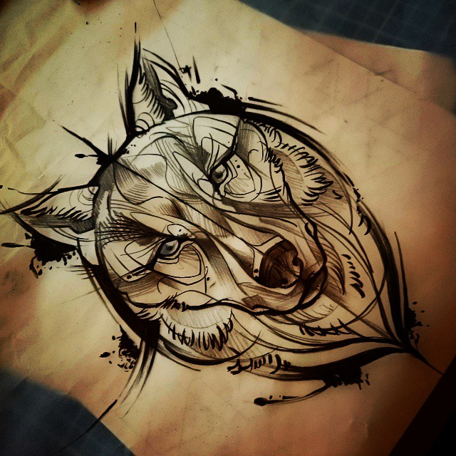 great animated wolf muzzle tattoo design. Black Bedroom Furniture Sets. Home Design Ideas