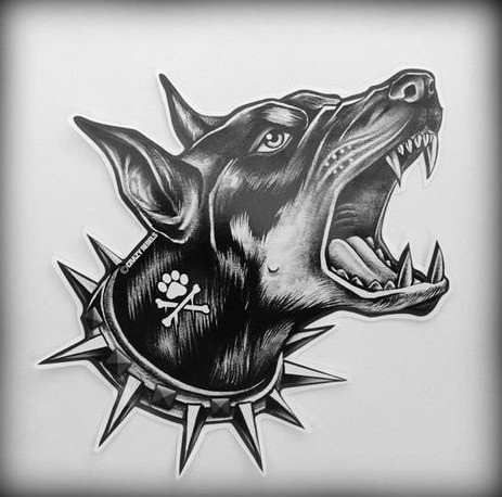 Great barking doberman in spiny collar tattoo design
