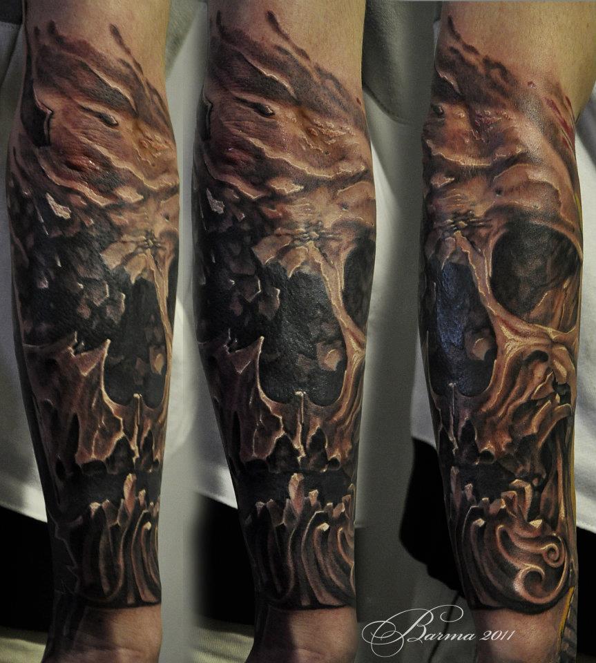 Great big skull tattoo on forearm