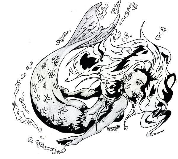 Great black-and-grey hurried mermaid tattoo design