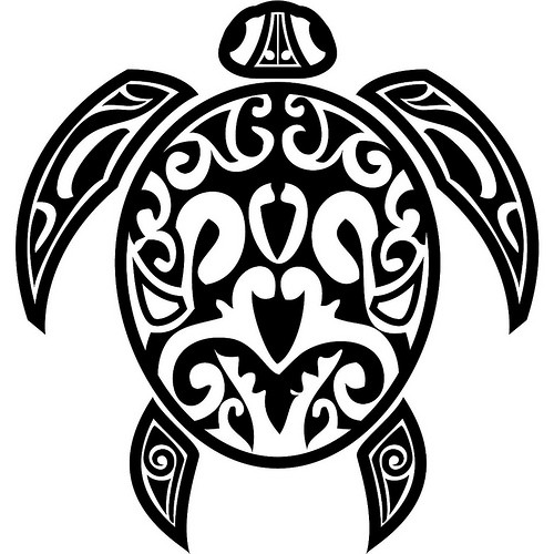 Great black-color hawaiian turtle tattoo design