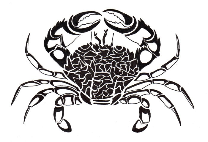 Great black-ink crab tattoo design