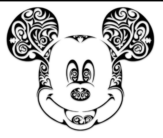 Great black-ink curly-patterned Mickey Mouse head tattoo design