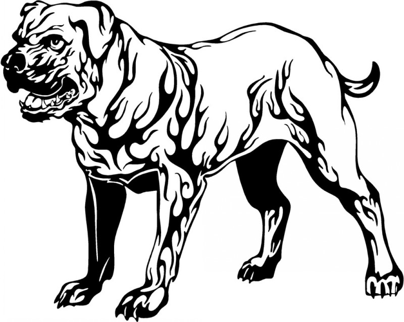 Great black-ink dog with flame print tattoo design