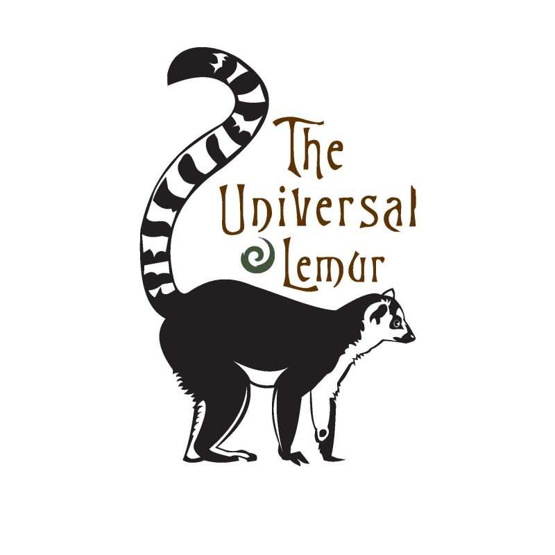 Great black-ink lemur and brown-ink lettering tattoo design