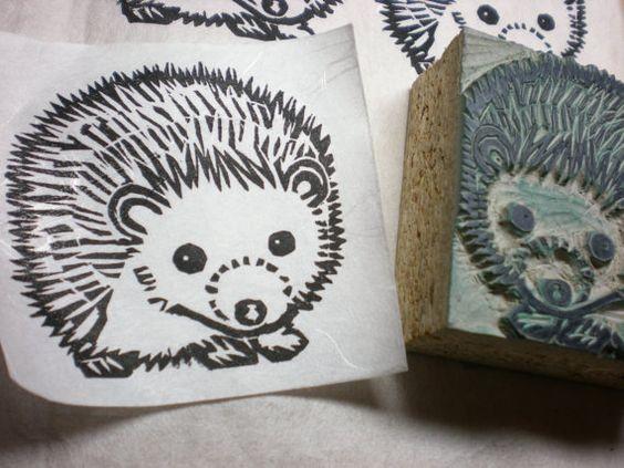 Great black ink outline hedgehog tattoo design