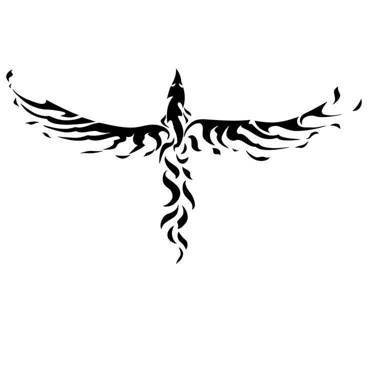 Great black-ink tribal phoenix tattoo design