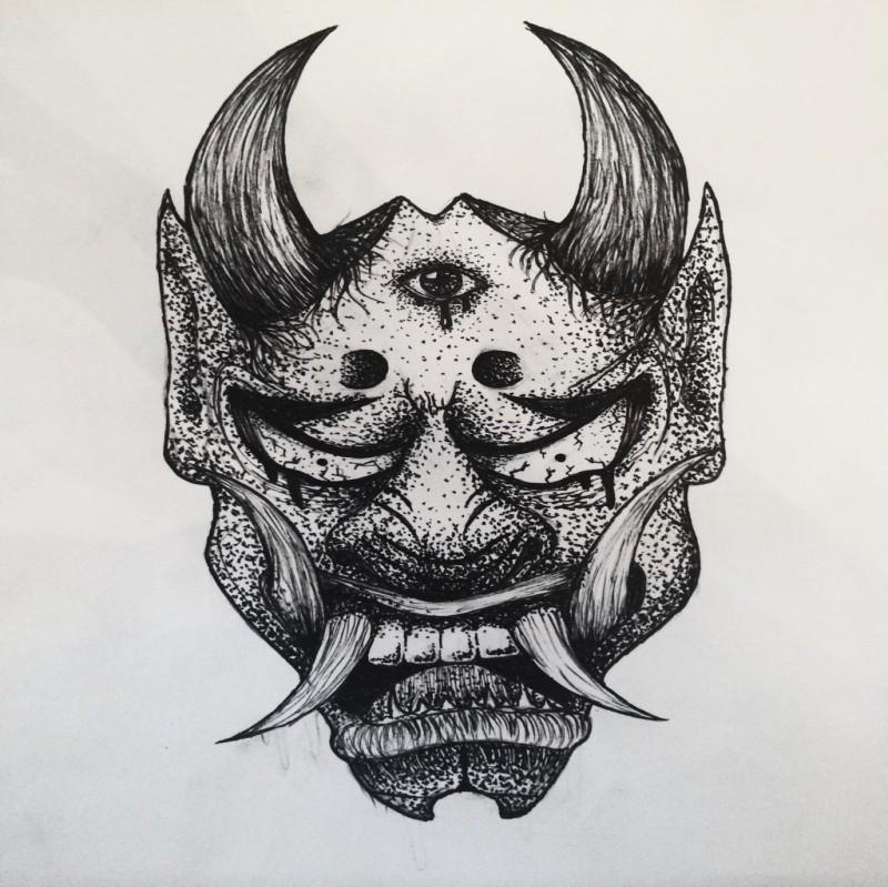 Great black dotwork horned devil face tattoo design by Humannis Art