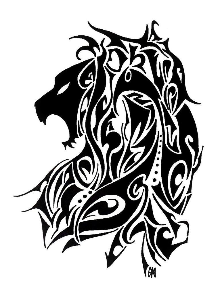 Great black tribal lion tattoo design