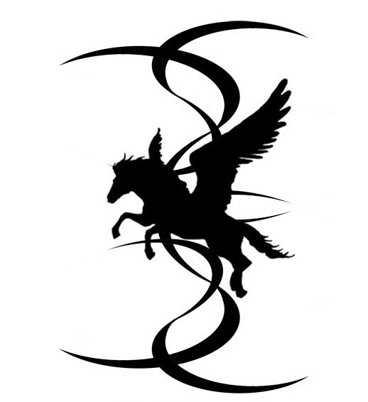 Great black tribal pegasus silhouette and curly stripes tattoo design