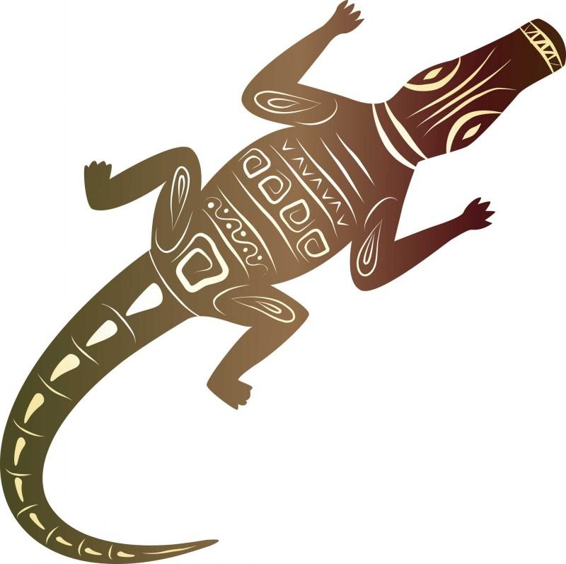 Great brown tribal reptile tattoo design