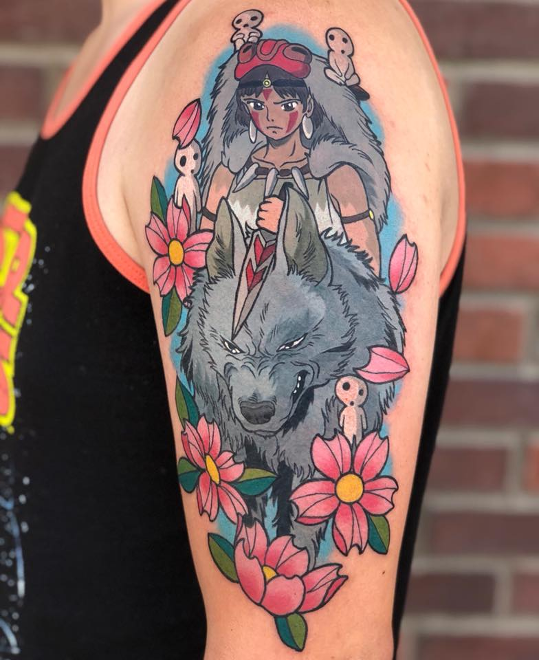 Great cartoon tattoo on shoulder