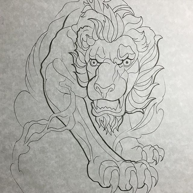 Great cartoon uncolored lion tattoo design