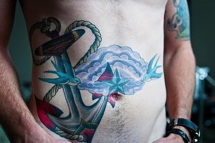 Great colored old school anchor with cloud and birds tattoo for men on belly