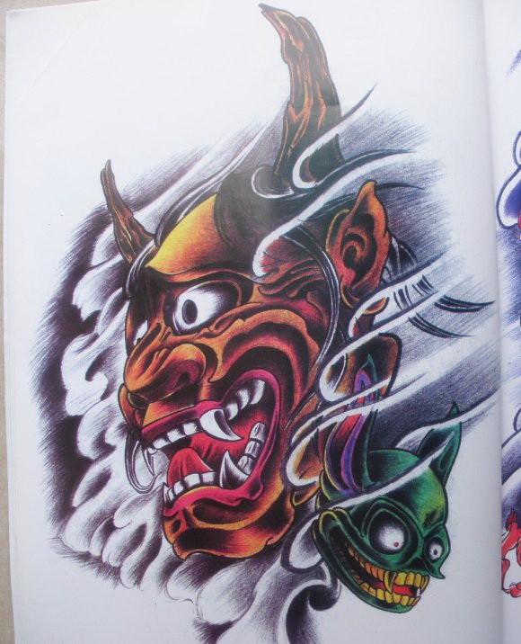 Great colorful devil and his little green monster tattoo design