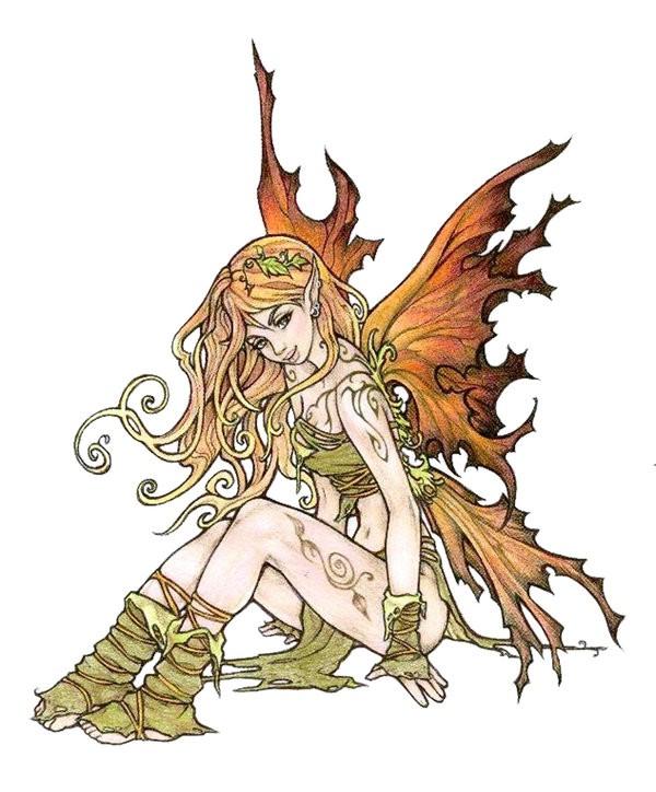 Great coloured sitting autmn fairy tattoo design