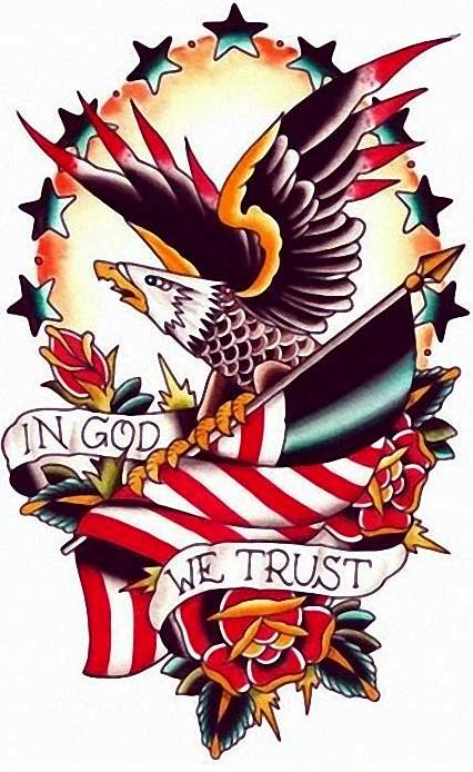Great detailed colorful eagle with american flag and flowers tattoo design