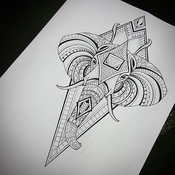 Great Dotwork Elephant Head On Rhombus Background Tattoo Design