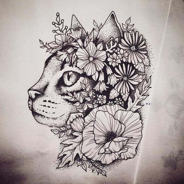 great dotwork floral cat tattoo design tattooimagesbiz