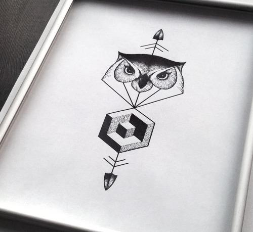 Great dotwork geometric owl pierced with arrow tattoo design
