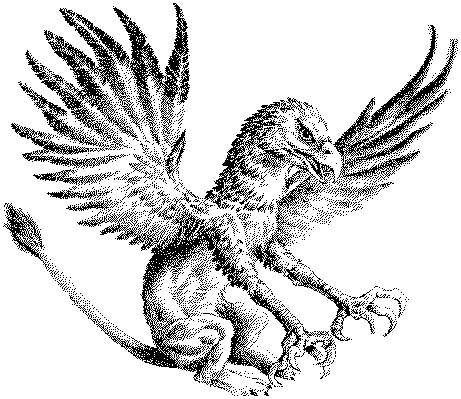 Great dotwork griffin with stright lion tail tattoo design