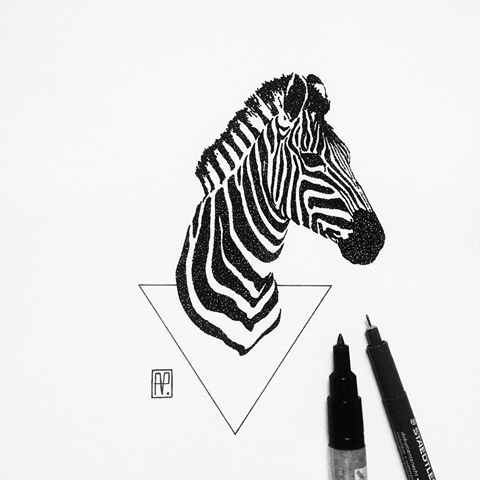 Great dotwork zebra head and triangle tattoo design