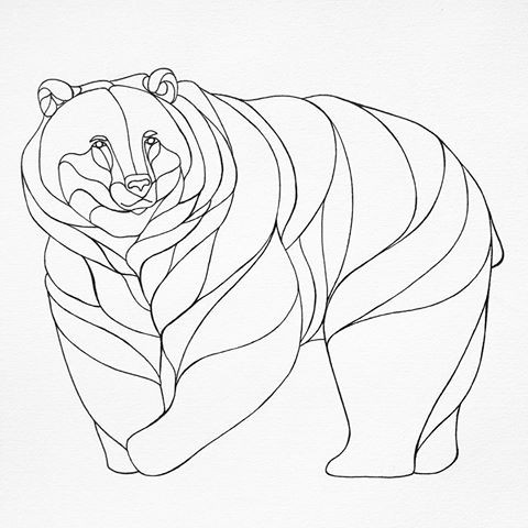 Great fat uncolored grizzly tattoo design
