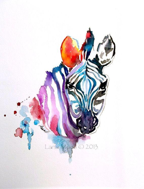Great full watercolor zebra portrait tattoo design