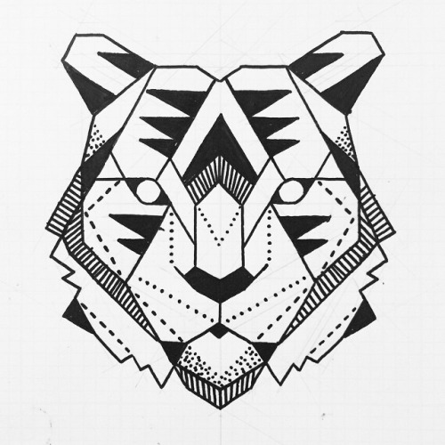 Great White Shark Drawing Great geometric tiger ...