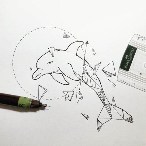 Great half-geometric jumping dolphin tattoo design