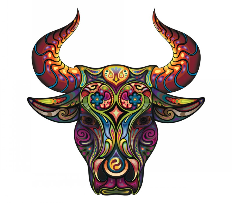 Great multicolor patterned bull head tattoo design