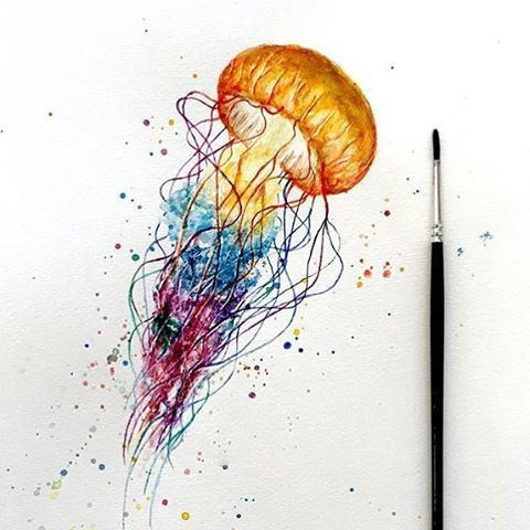 Great orange-headed jellyfish with splashed watercolor tentacles tattoo design