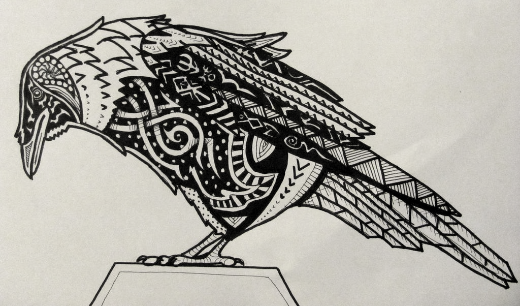 Great ornamented sitting raven tattoo design by Skankythor