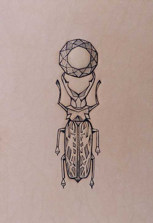 Great outline bug keeping round geometric figure with its horns tattoo design