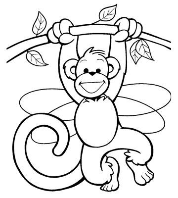 e7fe745d5b744 Great outline monkey hanging on tree tattoo design - Tattooimages.biz