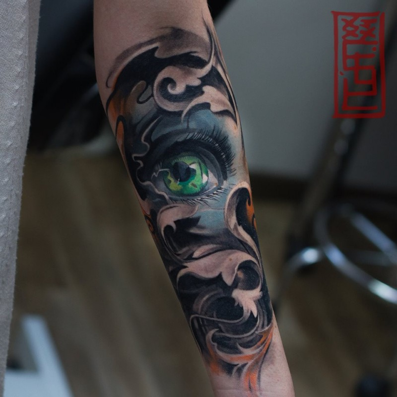 Great pattern with aye tattoo on forearm