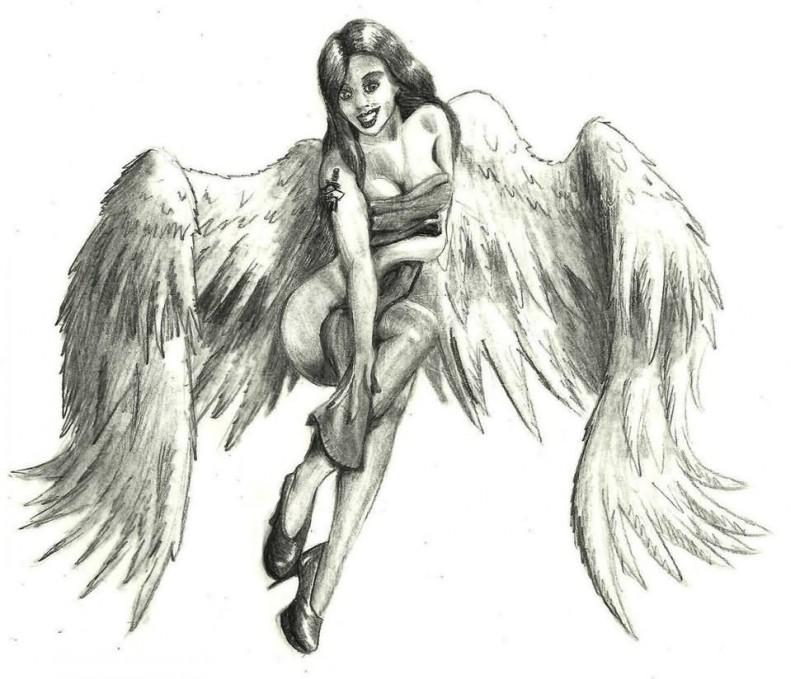 Great pencilwork pin up angel girl tattoo design