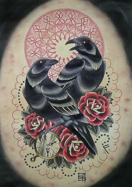 Great raven couple with red mandala and roses tattoo design