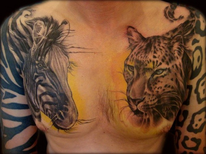 Great realistic color-ink zebra and jaguar heads tattoo on chest