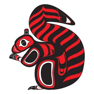 Great red-and-black squirrel in maori style tattoo design
