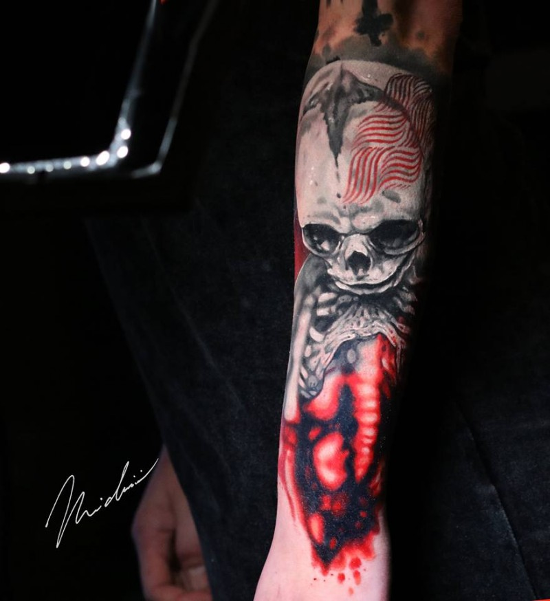 Great skeleton tattoo on arm