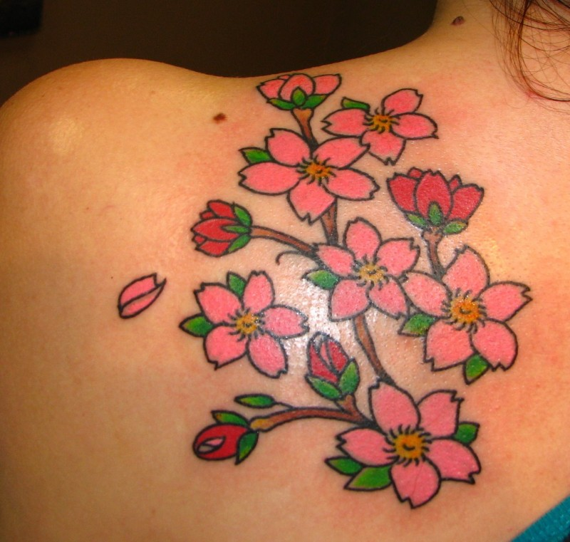 Great traditional pink jasmine flowers tattoo on back