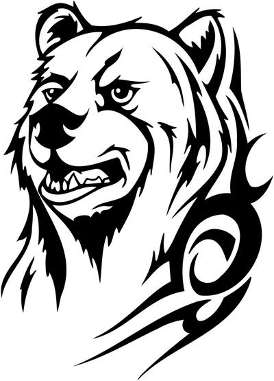 Great tribal bear portrait tattoo design