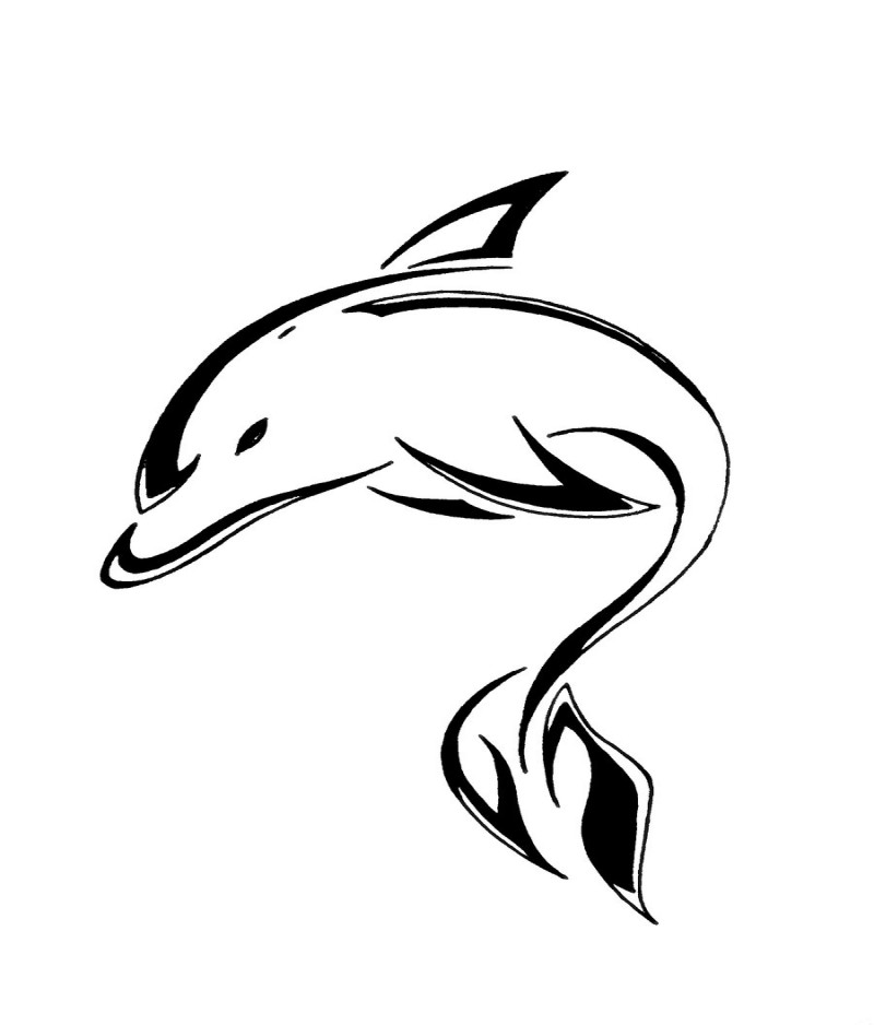 Great tribal dolphin silhouette tattoo design