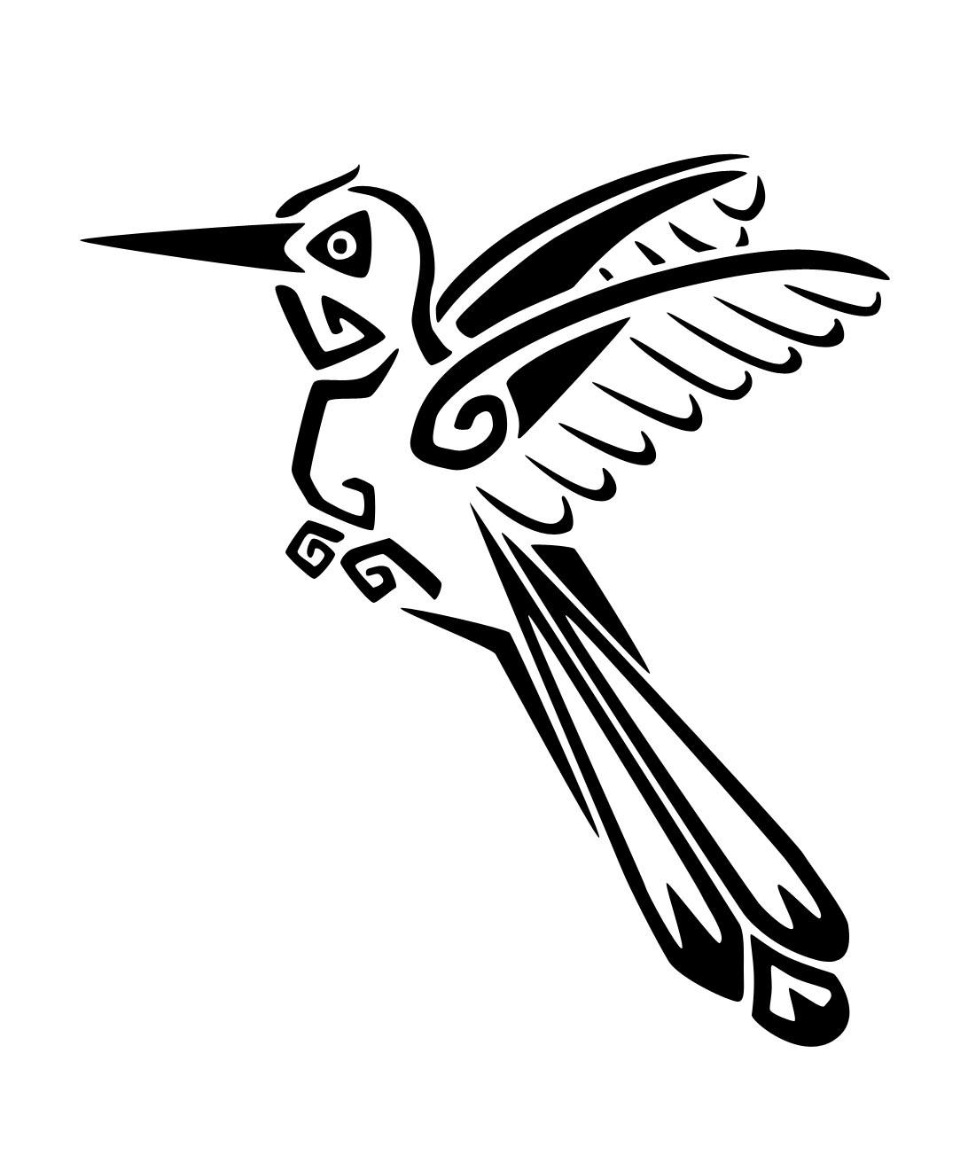 Great tribal hummingbird tattoo design