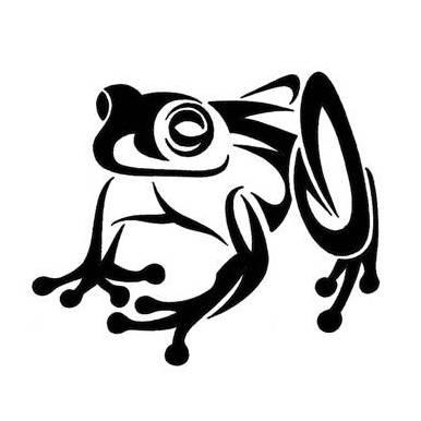 Great tribal sitting frog tattoo design